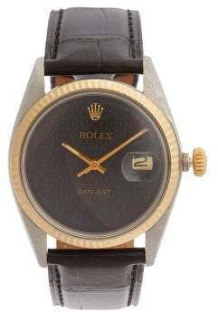 Rolex Lizzie Mandler - Engraved Dial 18kt Gold Watch - Womens - Black Gold