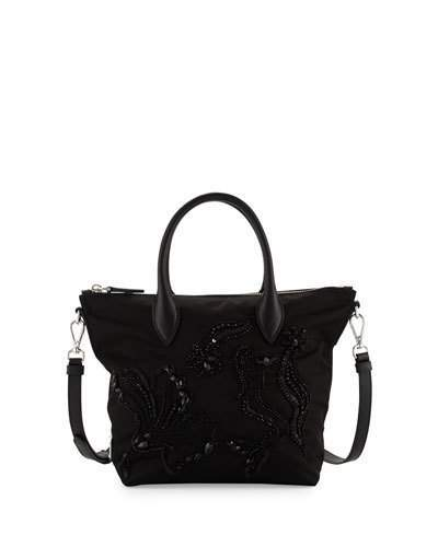 Prada Small Nylon Beaded Tote Bag, Black (Nero)
