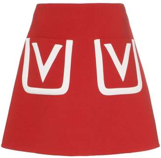 Valentino V logo pocket wool mini skirt