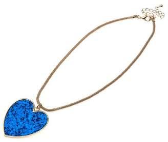 Adele Marie Base Metal Snake Chain Blue Glitter Heart Charm Necklet of 49.5cm