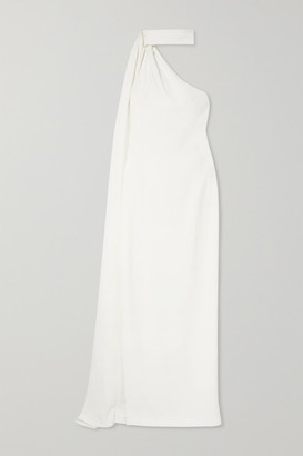 Brandon Maxwell One-shoulder Draped Crepe Gown - White