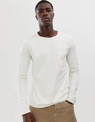 Selected long sleeve pocket t-shirt with drop shoulder