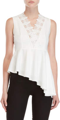 Few Moda Lace V-Neck Asymmetrical Hem Top