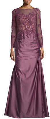 La Femme Long-Sleeve Embellished Taffeta Mermaid Gown, Orchid $638 thestylecure.com