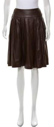 Chanel Pleated Leather Skirt brown Pleated Leather Skirt