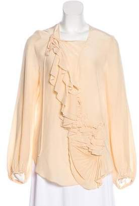 Givenchy Silk Ruffle-Accented Blouse