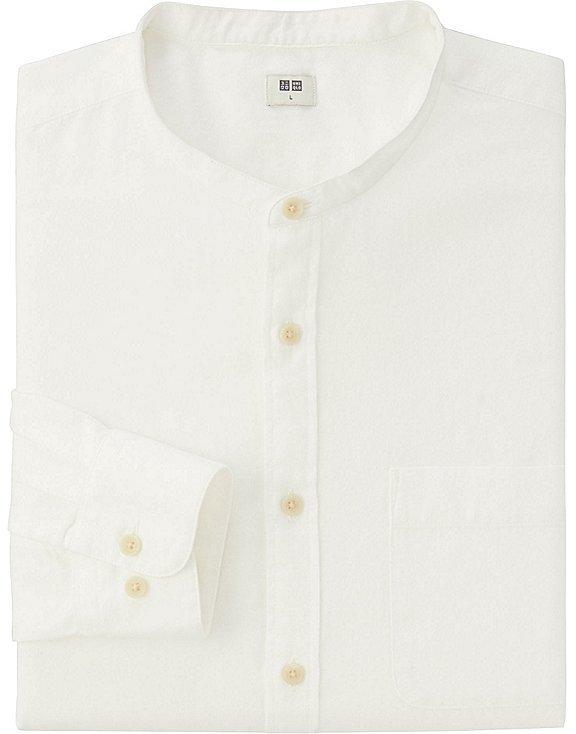 Men Flannel Stand Collar Long Sleeve Shirt 3