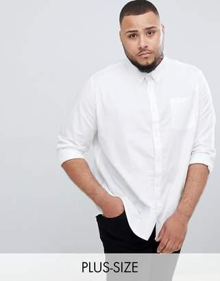 Burton Menswear Big & Tall Long Sleeve Oxford Shirt In White