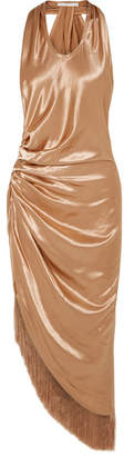 Helmut Lang Fringed Gathered Satin Midi Dress - Brass