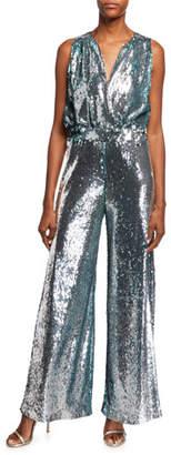 a3d8742e253a Carolina Ritzler Irma Sleeveless Surplice Wide-Leg Allover Sequin Jumpsuit