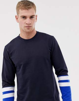 ONLY & SONS Crew Neck Sweat With Stripe Sleeve Detail
