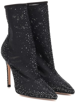 Gianvito Rossi Aurora embellished tulle sock boots
