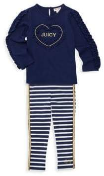 Juicy Couture Little Girl's Two-Piece Ruffled Top & Striped Leggings Set
