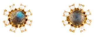 Irene Neuwirth 18K Labradorite & Diamond Floral Stud Earrings