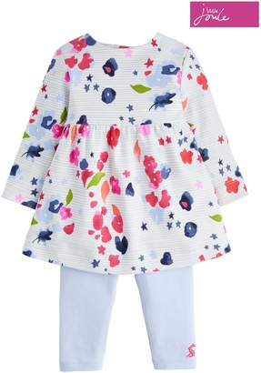 Next Girls Joules Inky Floral Stripe Dress Set