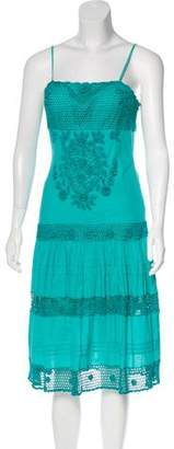 Sue Wong Lace-Trimmed Sleeveless Dress