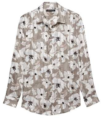 Banana Republic Petite Dillon Classic-Fit Sheer Floral Stripe Shirt