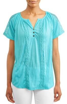 Jason Maxwell Women's Raglan T-Shirt with Lace Trim