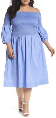 7c39b3504f5 ... Chelsea28 Off the Shoulder Smocked Bodice Midi Dress