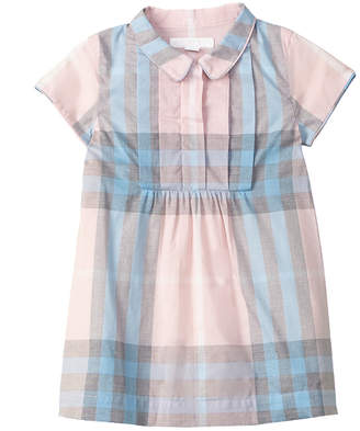 Burberry Girls' Pleated Bib Check Cotton Dress