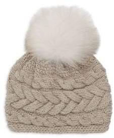 Inverni Beatrice Fox Fur Pom Pom Cable Knit Beanie