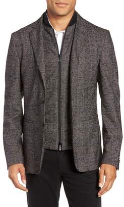 BOSS Nanon Trim Fit Plaid Wool Blend Sport Coat