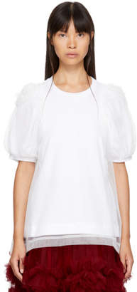 Simone Rocha White Layered Ruched Tulle T-Shirt