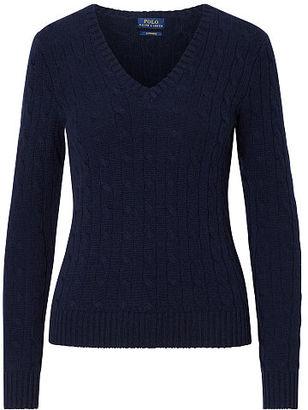 Polo Ralph Lauren Cable Cashmere V-Neck Sweater $398 thestylecure.com