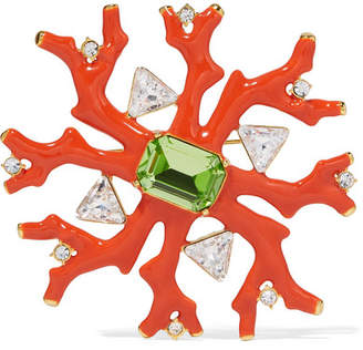 Kenneth Jay Lane Gold-tone, Enamel And Crystal Brooch - Coral