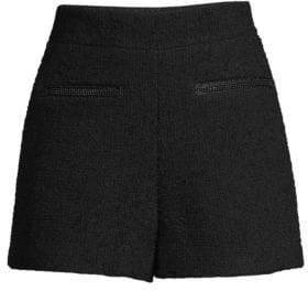 Maje Women's High-Waisted Tweed Shorts - Black - Size 40 (8)