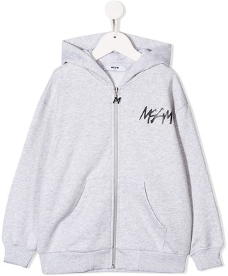 MSGM Kids logo print hoodie