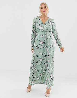 Yumi 3/4 sleeve floral wrap maxi dress