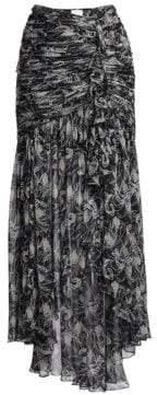 Cinq à Sept Kathleen Ruched Floral Silk Midi Skirt