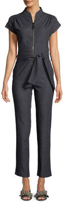 Carolina Ritzler Cap-Sleeve Zip-Front Straight-Leg Denim Jumpsuit