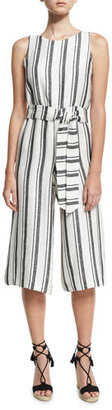 Alice + Olivia Franny Sleeveless Belted Gaucho Jumpsuit, Multi $350 thestylecure.com