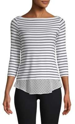 Bailey 44 Tripin Striped Mixed Media Top