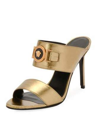 Versace Icon Medusa Metallic Leather Mule Slide Sandals