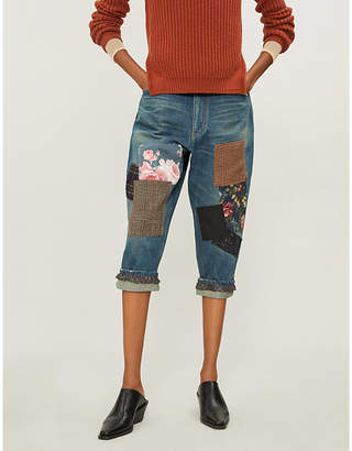 Junya Watanabe Contrasting patchwork cropped loose-fit high-rise denim jeans