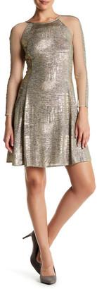 Julia Jordan Long Sleeve Shimmer Fit & Flare Dress $188 thestylecure.com