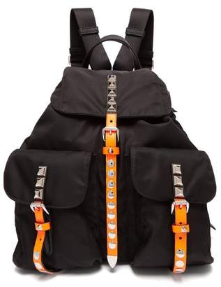 Prada - New Vela Studded Nylon Backpack - Womens - Black Orange