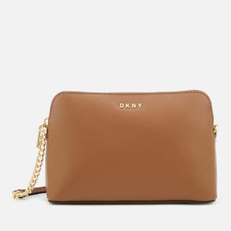 DKNY Women's Bryant Sutton Textured Leather Top Zip Cross Body Bag - Camel