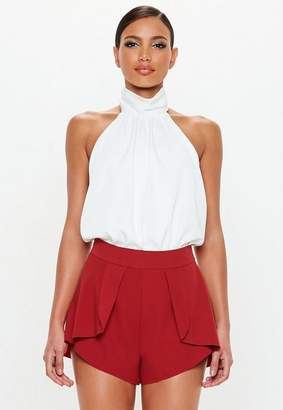 Missguided Red Tailored Frill Shorts