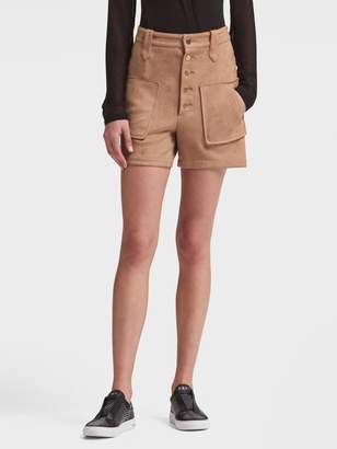 DKNY Suede Button-Front Short