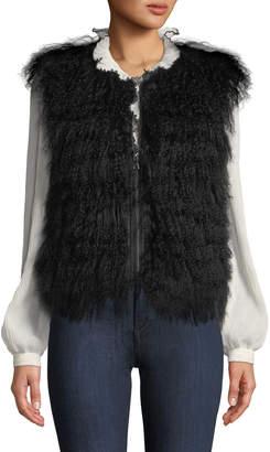 Adrienne Landau Lamb Fur Zip-Front Vest