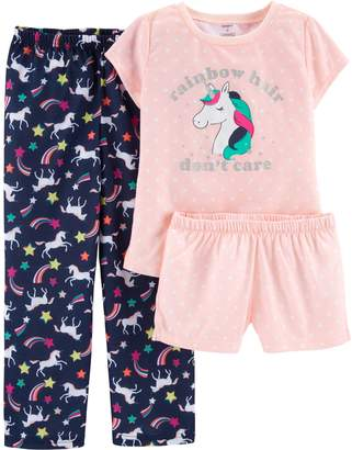 Carter's Girls 4-14 Unicorn Top, Shorts & Pants Pajama Set