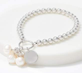 Honora Sterling Silver or 14K Plated Cultured Pearl Charm Bracelet