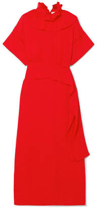 Victoria Beckham Ruffled Silk Crepe De Chine Midi Dress - Red