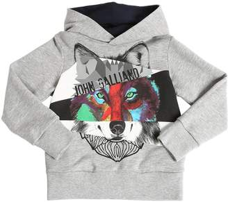 John Galliano Logo Print Cotton Sweatshirt Hoodie
