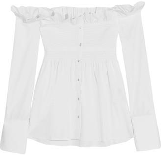 Victoria, Victoria Beckham - Off-the-shoulder Smocked Cotton-poplin Top - White