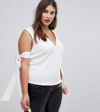 Asos Top in Scuba with Plunge Neck & Bow Detail